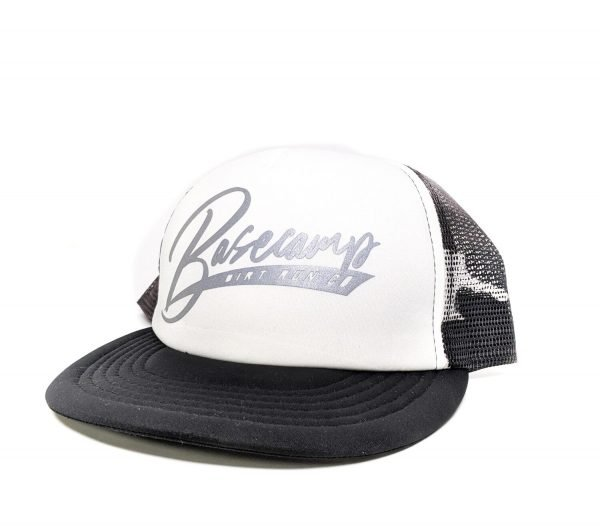 black, white, and gray camo basecamp trucker from dirt run co