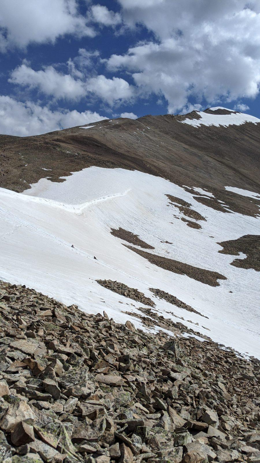 hikers climbing mount sherman in colorado in the snow