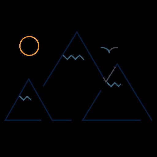 mountain with sun and bird icon