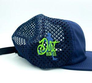 closeup product shot of packable trucker side view with old dirt run co logo on it